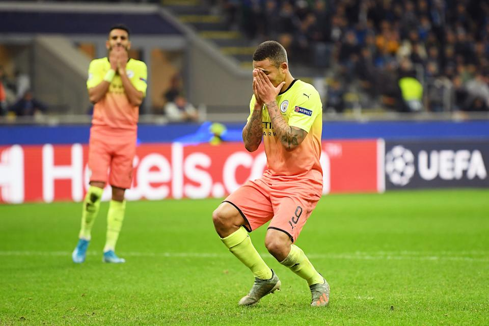 MILAN, ITALY - NOVEMBER 06: Gabriel Jesus of Manchester City reacts after missing a penalty  during the UEFA Champions League group C match between Atalanta and Manchester City at Stadio Giuseppe Meazza on November 06, 2019 in Milan, Italy. (Photo by Michael Regan/Getty Images)