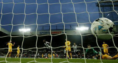 Britain Football Soccer - Newcastle United v Preston North End - Sky Bet Championship - St James' Park - 24/4/17 Newcastle United's Christian Atsu celebrates scoring their second goal Mandatory Credit: Action Images / Lee Smith Livepic