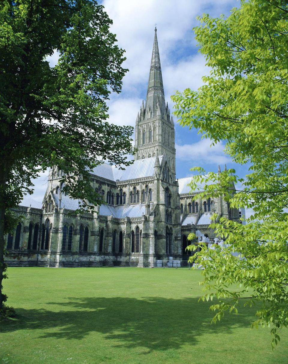"""<p>Salisbury Cathedral is home to Britain's biggest cloister, the best-preserved volume of Magna Carta and one of the world's oldest working clocks. It also features a 14th-century spire that stretches 55 metres into the sky. Steel yourself for a 332-step climb up a stone spiral staircase, passing ancient wooden scaffolding and aged graffiti etched into the walls. At the top, you'll be rewarded with sweeping views of the city and surrounding countryside. You might even spot a resident peregrine soar over the steeple.</p><p><a class=""""link rapid-noclick-resp"""" href=""""https://www.salisburycathedral.org.uk/"""" rel=""""nofollow noopener"""" target=""""_blank"""" data-ylk=""""slk:MORE INFO"""">MORE INFO</a></p>"""