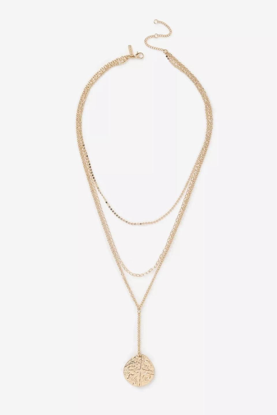 <p>Pair this <span>Multirow Coin Necklace</span> ($22) with a plunging neckline for a sultry feminine look.</p>