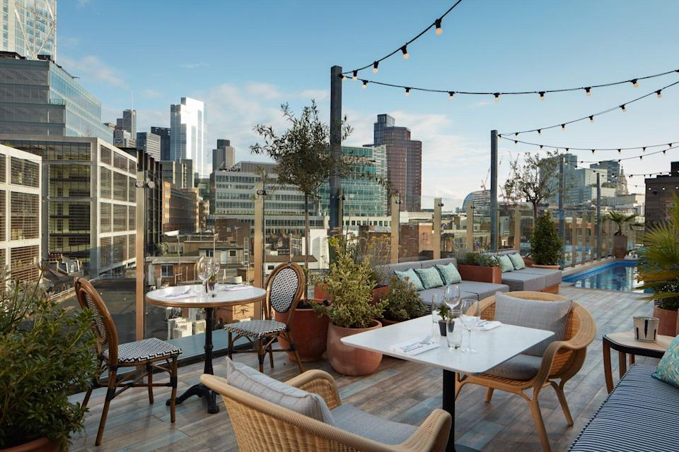 The dining terrace and plunge pool at Mondrian Shoreditch.