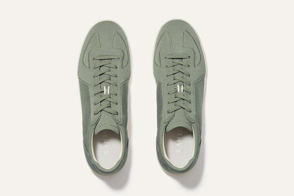 Olive green lace up low top sneakers