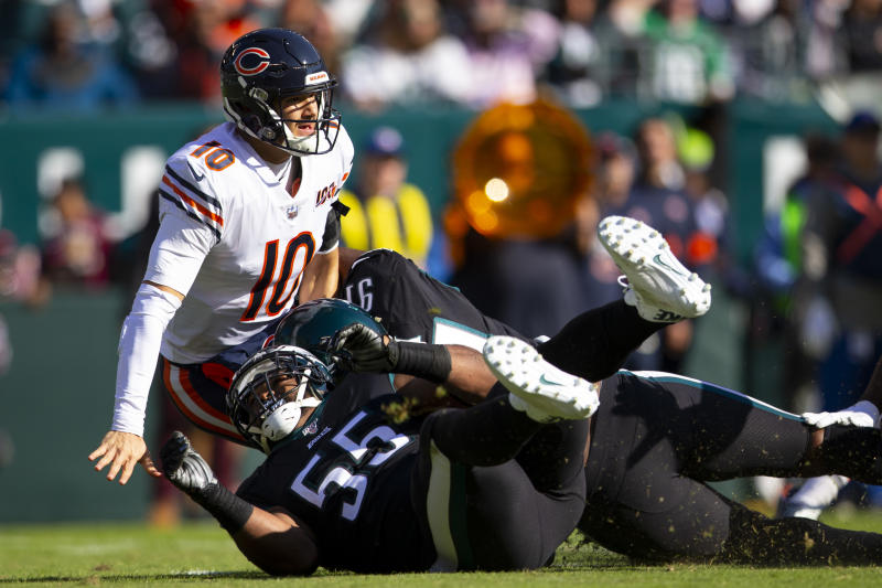 PHILADELPHIA, PA - NOVEMBER 03: Mitchell Trubisky #10 of the Chicago Bears throws a pass and is then hit by Fletcher Cox #91 and Brandon Graham #55 of the Philadelphia Eagles in the first quarter at Lincoln Financial Field on November 3, 2019 in Philadelphia, Pennsylvania. (Photo by Mitchell Leff/Getty Images)