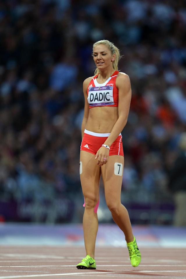 Austria's Ivona Dadic competes in the women's heptathlon 800m heats at the athletics event of the London 2012 Olympic Games on August 4, 2012 in London. AFP PHOTO / ERIC FEFERBERGERIC FEFERBERG/AFP/GettyImages