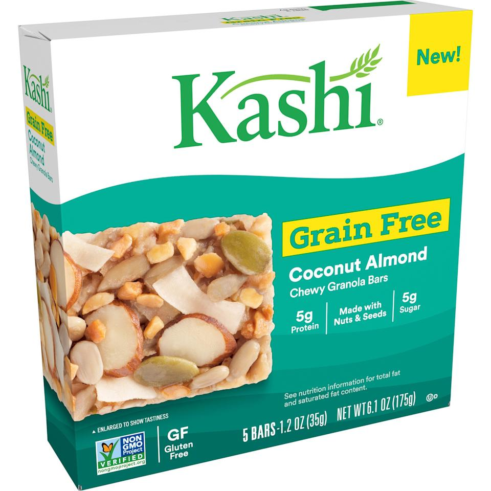 """<p><strong>Kashi</strong></p><p>walmart.com</p><p><strong>$2.98</strong></p><p><a href=""""https://go.redirectingat.com?id=74968X1596630&url=https%3A%2F%2Fwww.walmart.com%2Fip%2F119748246&sref=https%3A%2F%2Fwww.goodhousekeeping.com%2Fhealth%2Fdiet-nutrition%2Fg33456644%2Fhealthy-granola-bars%2F"""" rel=""""nofollow noopener"""" target=""""_blank"""" data-ylk=""""slk:Shop Now"""" class=""""link rapid-noclick-resp"""">Shop Now</a></p><p>This <strong>gluten-free granola bar</strong> pick starts its ingredients list off with sunflower seeds, coconut, and almonds. We love that the bar only has 4 grams of added sugar (5 grams of sugar in total) and is also non-GMO Project Verified.</p><p><strong><em>Per 1 bar serving: 200 cal, 16g fat, 45mg sodium, 12g carb, 3g fiber, 4g added sugar, 5g protein</em></strong></p>"""