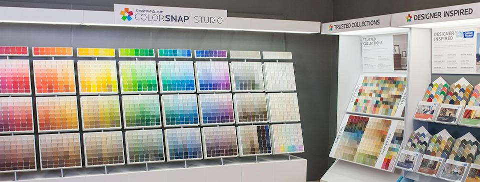 Display case with paint swatches.