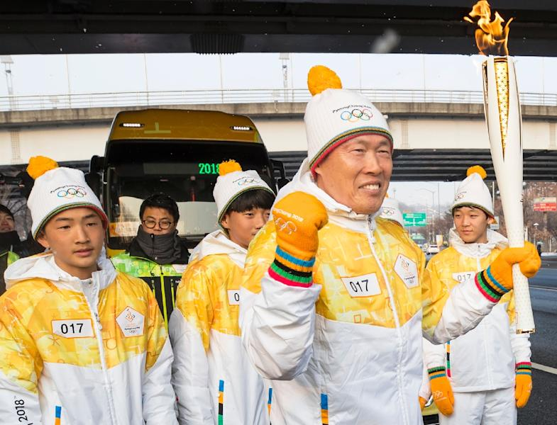 The flame arrived in South Korea on November 1, 100 days ahead of the opening ceremony for the 2018 Pyeongchang Winter Games (AFP Photo/-)