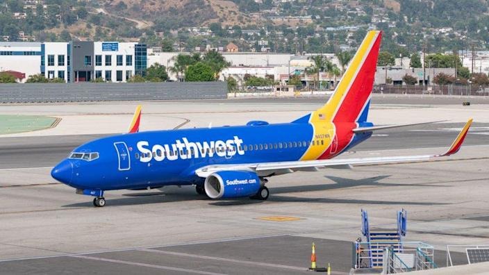 Southwest Airlines plane at Hollywood Burbank Airport on September 16, 2020