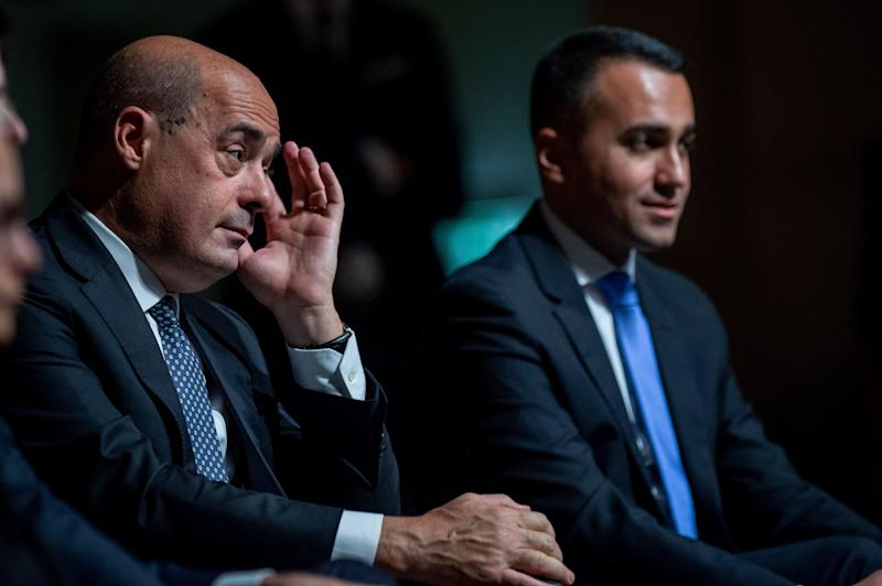 NARNI, ITALY - OCTOBER 25: General Secretary of Democratic Party (PD) Nicola Zingaretti and Italian Minister of Foreign Affairs Luigi Di Maio(R) attend the press conference to present the budget maneuver, on October 25, 2019 in Narni, Italy. (Photo by Antonio Masiello/Getty Images) (Photo: Antonio Masiello via Getty Images)