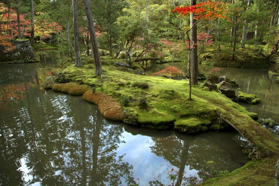 <p>Moss Garden at Saihoji Temple, also known as Kokedera, is one of the few temples in Kyoto where visitors must request an invitation by mail weeks in advance before their visit. Visitors are required to participate in chanting and writing wishes before visiting the famous gardens. In this way, the monks are able to maintain the temple and garden and prevent mass tourism from destroying the tranquility of the moss garden. <em>Photo by John S. Lander/LightRocket via Getty Images</em></p>