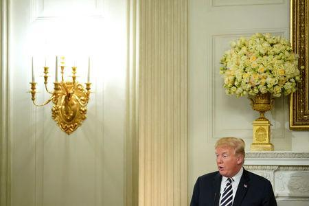 FILE PHOTO: U.S. President Donald Trump speaks at the start of an Iftar dinner at the White House in Washington, U.S., June 6, 2018. REUTERS/Joshua Roberts