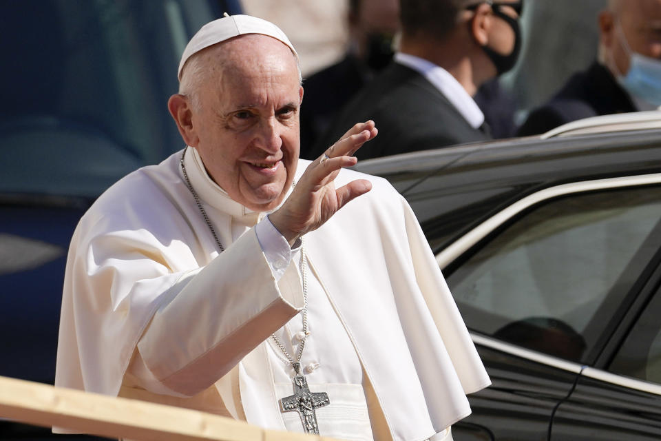 Pope Francis arrives at the Cathedral of Saint Martin, in Bratislava, Slovakia, Monday, Sept. 13, 2021. Francis is on a four-day visit to Central Europe, in Hungary and Slovakia, in his first big international outing since undergoing intestinal surgery in July. (AP Photo/Petr David Josek)