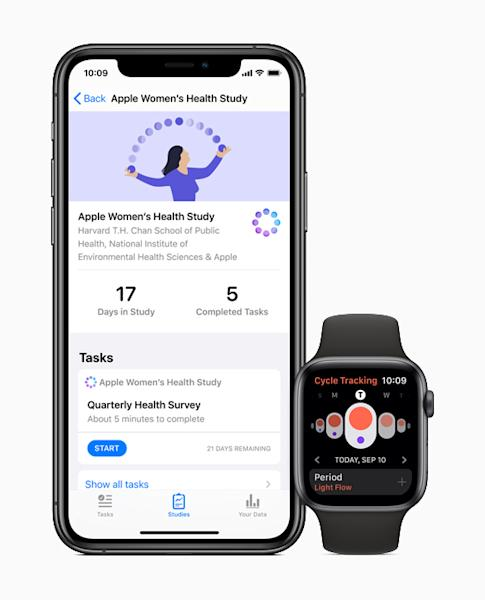 Apple users can choose to participate in the Women's Health Study through the Research app.
