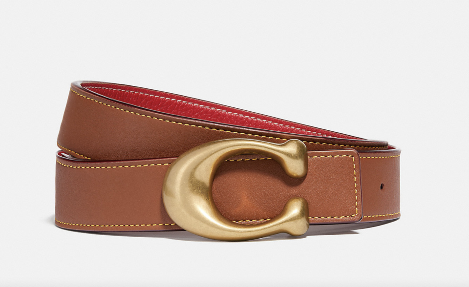 brown leather coach Signature Buckle Reversible Belt