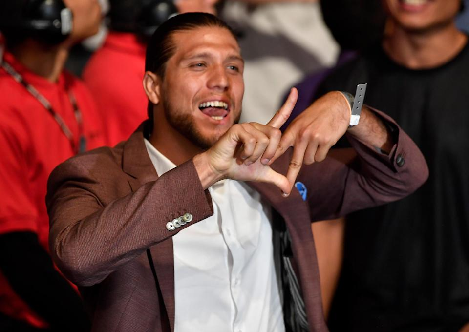 Brian Ortega is at UFC 227 inside Staples Center on Aug. 4, 2018, in Los Angeles. (Getty Images)