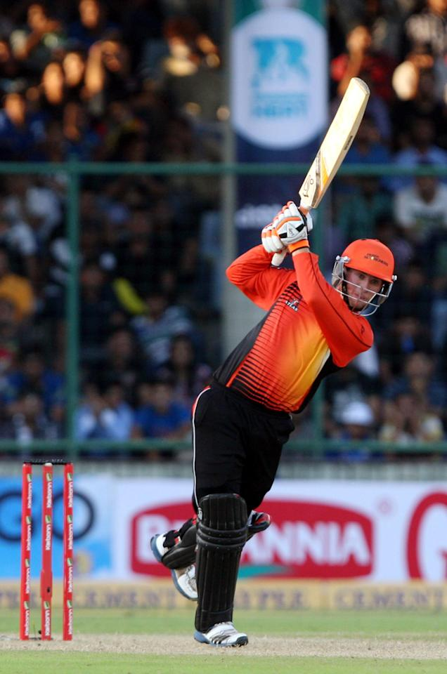 Sam Whiteman of Perth Scorchers play a shot during the CLT20 match between Perth Scorchers and Mumbai Indians at Feroz Shah Kotla, Delhi on Oct. 2, 2013. (Photo: IANS)