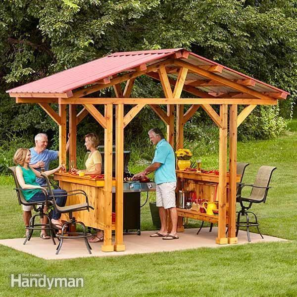 """<p>If grilling is your game, then this is the gazebo for you! This sheltered space is designed for chilling and grilling, so you can flip burgers for your buddies, rain or shine. </p><p><strong>Get the tutorial at <a href=""""https://www.familyhandyman.com/garden-structures/grill-gazebo-plans-make-a-grillzebo/"""" rel=""""nofollow noopener"""" target=""""_blank"""" data-ylk=""""slk:The Family Handyman"""" class=""""link rapid-noclick-resp"""">The Family Handyman</a>. </strong></p>"""
