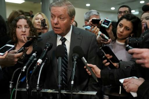 Senator Lindsey Graham speaks to members of the media after a closed door briefing by Central Intelligence Agency Director Gina Haspel