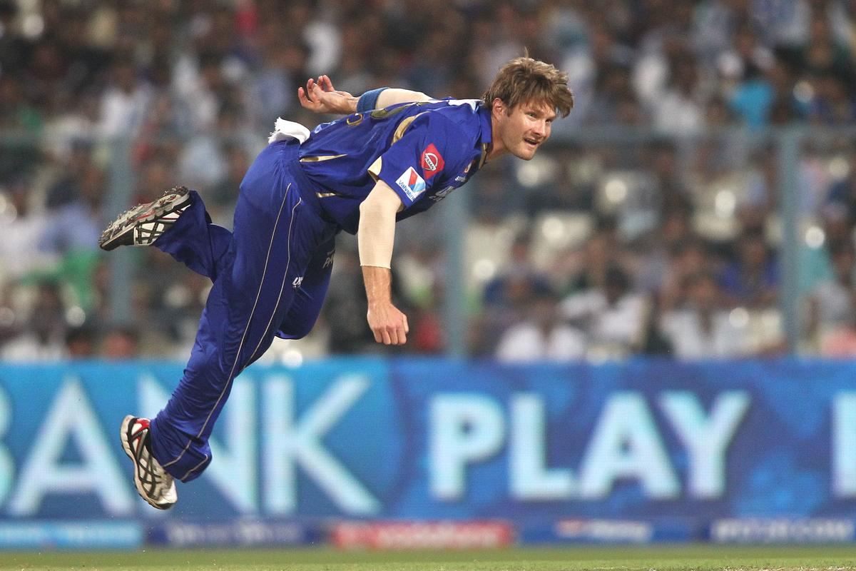 Shane Watson of Rajasthan Royals sends down a delivery during the 2nd Qualifying match of the Pepsi Indian Premier League between The Rajasthan Royals and the Mumbai Indians  held at the Eden Gardens Stadium in Kolkata on the 24th May 2013..Photo by Shaun Roy-IPL-SPORTZPICS    ..Use of this image is subject to the terms and conditions as outlined by the BCCI. These terms can be found by following this link:..https://ec.yimg.com/ec?url=http%3a%2f%2fwww.sportzpics.co.za%2fimage%2fI0000SoRagM2cIEc&t=1498714879&sig=aI.8BX4x7XfitJ4Kojoc2Q--~C