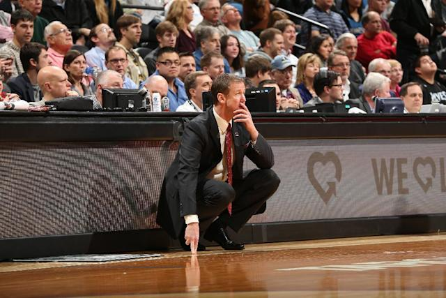 MINNEAPOLIS, MN - DECEMBER 18: Terry Stotts of the Portland Trail Blazers looks on during the game against the Minnesota Timberwolves on December 18, 2013 at Target Center in Minneapolis, Minnesota. (Photo by David Sherman/NBAE via Getty Images)