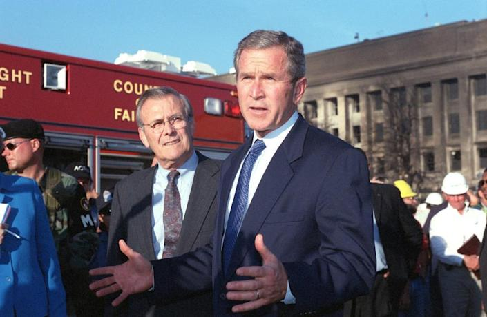 Donald Rumsfeld and George W Bush at the Pentagon on the morning of 11 September 2001.