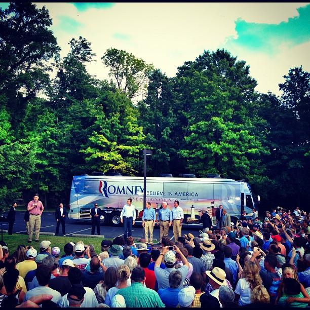 Mitt Romney and friends in Cornwall, PA (Holly Bailey/Yahoo News)