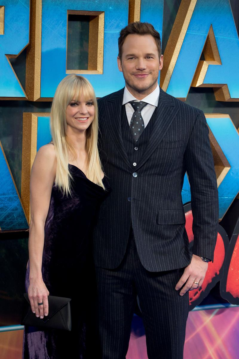 """Anna Faris and Chris Pratt at the """"Guardians of the Galaxy Vol. 2"""" premiere."""