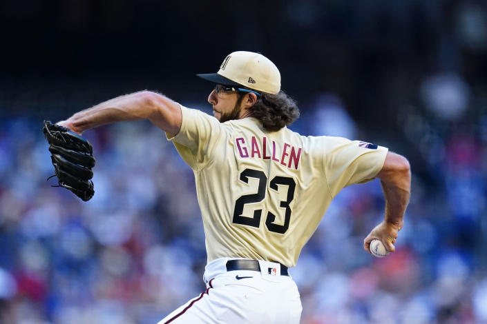Arizona Diamondbacks starting pitcher Zac Gallen throw a pitch against the Los Angeles Dodgers during the first inning of a baseball game Saturday, Sept. 25, 2021, in Phoenix. (AP Photo/Ross D. Franklin)