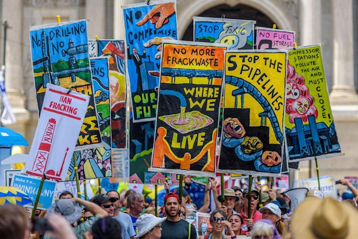 <p>On the eve of the Democratic National Convention, thousands marched in Philadelphia for action to prevent climate catastrophe and present their demands directly to current and future policy makers. (Erik McGregor/Pacific Press/LightRocket via Getty Images)</p>