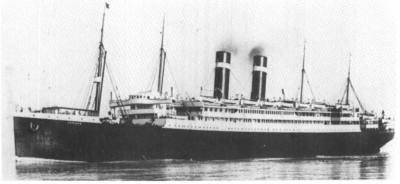 Sanders' father came to New York in 1921 at the age of 17 onboard a ship called the Lapland (pictured). (Photo: Ancestry.com)