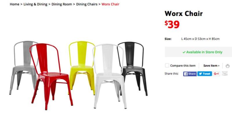 Approximately 100,000 chairs will be recalled on Monday. They are currently still listed on the Fantastic Furniture website. Photo: Fantastic