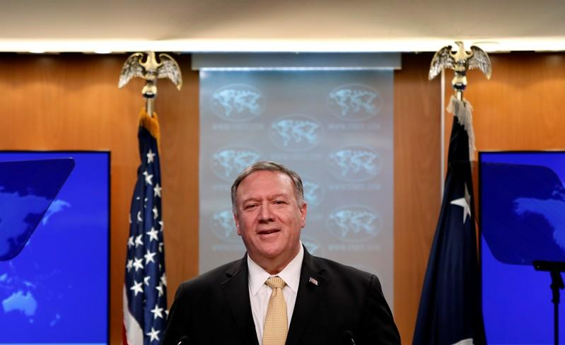 U.S. Secretary of State Mike Pompeo delivers a statement on the Trump administration's position on Israeli settlements in the occupied West Bank during a news briefing at the State Department