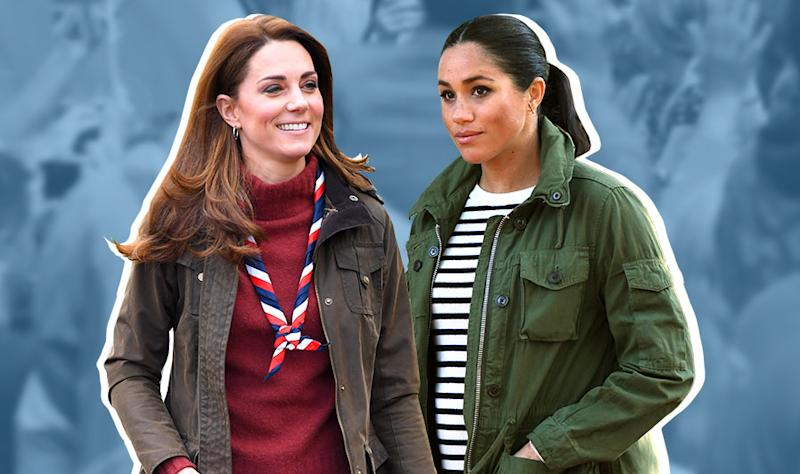 bd345521a8a0 Kate Middleton and Meghan Markle twin in khaki cargo jacket