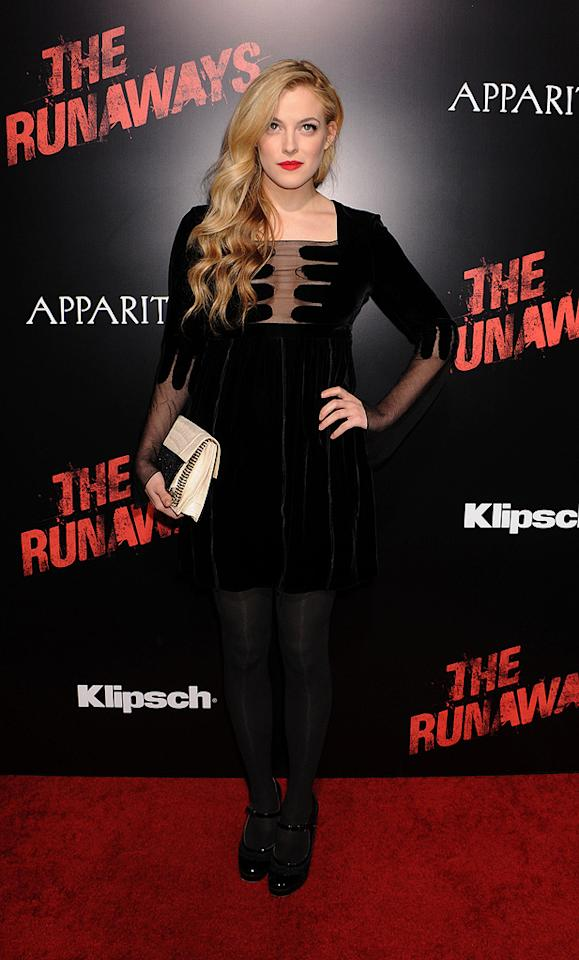"""<a href=""""http://movies.yahoo.com/movie/contributor/1810151669"""">Riley Keough</a> at the Los Angeles premiere of <a href=""""http://movies.yahoo.com/movie/1810129048/info"""">The Runaways</a> - 03/11/2010"""