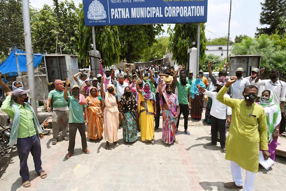 PATNA, INDIA - JUNE 7: Patna Municipal Corporation employees during a demonstration and call for strike in support of various demands at PMC office, on June 7, 2020 in Patna, India. (Photo by Santosh Kumar/Hindustan Times via Getty Images)