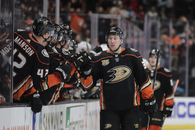 Anaheim Ducks' Nick Ritchie is congratulated by teammates for his goal during the first period of an NHL hockey game against the St. Louis Blues on Wednesday, March 6, 2019, in Anaheim, Calif. (AP Photo/Jae C. Hong)