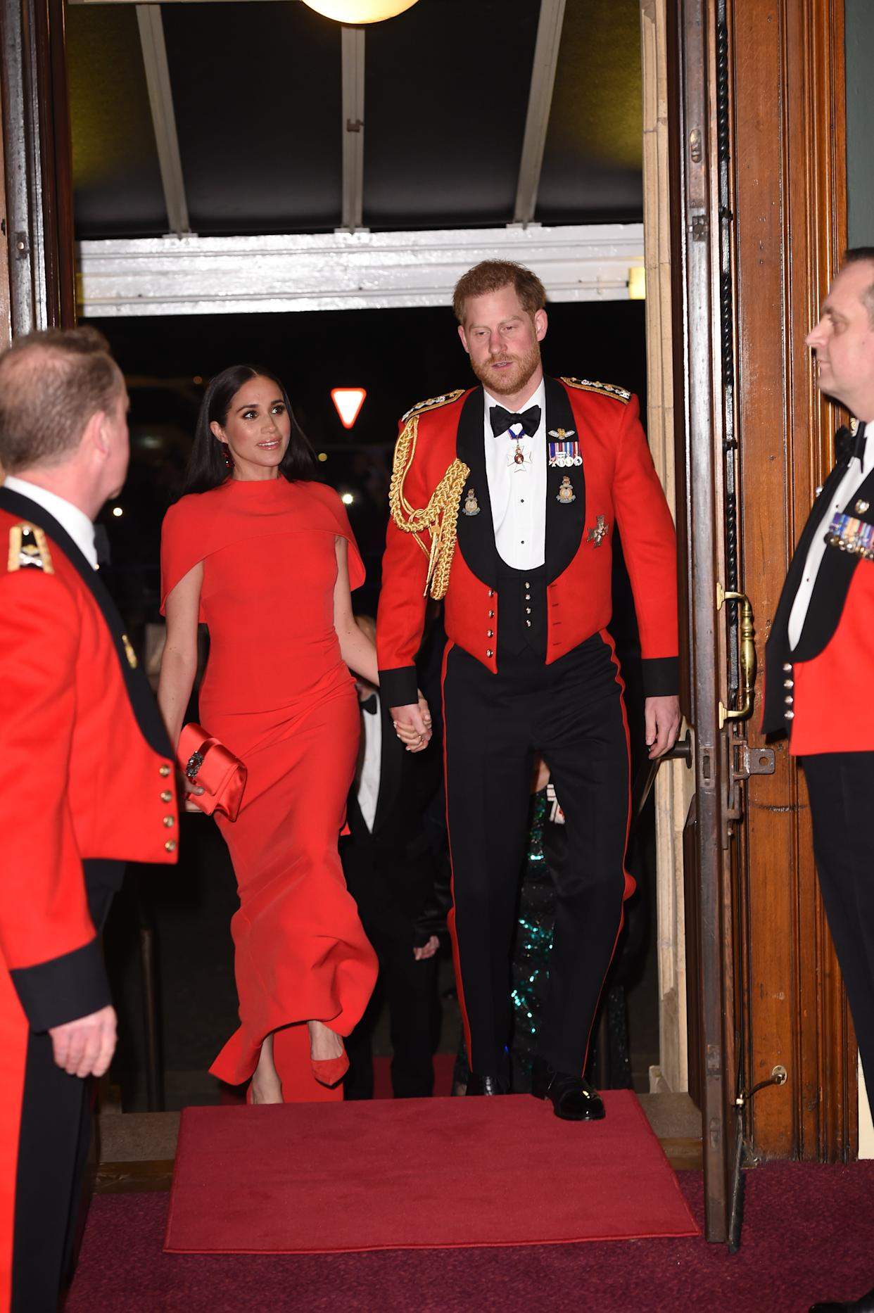 The Duke and Duchess of Sussex were greeted by marines on arrival. (Press Association)