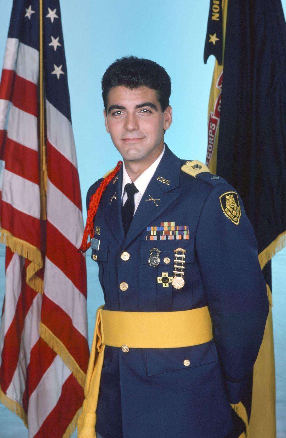 <p>Clooney as Major Biff Woods in NBC's Sunday Night At The Movies, <em>Combat High,</em> in 1986.</p>