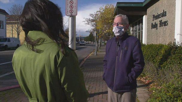 PHOTO: ABC News Correspondent Zohreen Shah talks with Peninsula Daily News reporter Paul Gottlieb about the voting trends in Clallam County. (ABC News)