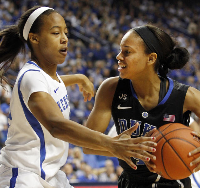 Duke's Chloe Wells, right, is pressured by Kentucky's Jelleah Sidney during the first half of an NCAA college basketball game, Sunday, Dec. 22, 2013, in Lexington, Ky. (AP Photo/James Crisp)