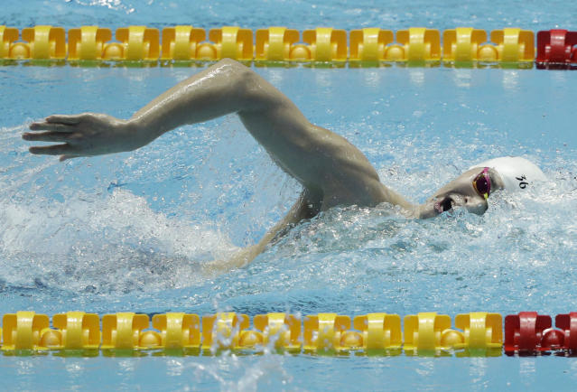 China's Sun Yang swims in the men's 400m freestyle final at the World Swimming Championships in Gwangju, South Korea, Sunday, July 21, 2019. (AP Photo/Mark Schiefelbein)
