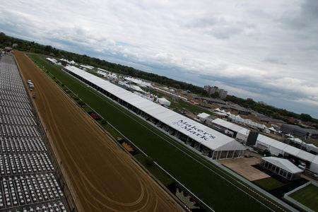 FILE PHOTO: May 14, 2019; Baltimore, MD, USA; A general view of the straight away in front of the seating coming out of turn four at Pimlico Race Course. Mandatory Credit: Tommy Gilligan-USA TODAY Sports