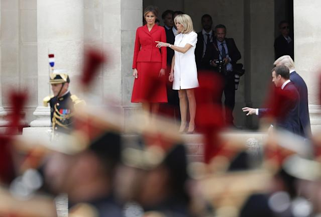 <p>French President Emmanuel Macron, his wife Brigitte Macron, President Donald Trump and First Lady Melania Trump attend a welcoming ceremony at Les Invalides in Paris, Thursday, July 13, 2017. (Photo: Yves Herman, Pool via AP) </p>