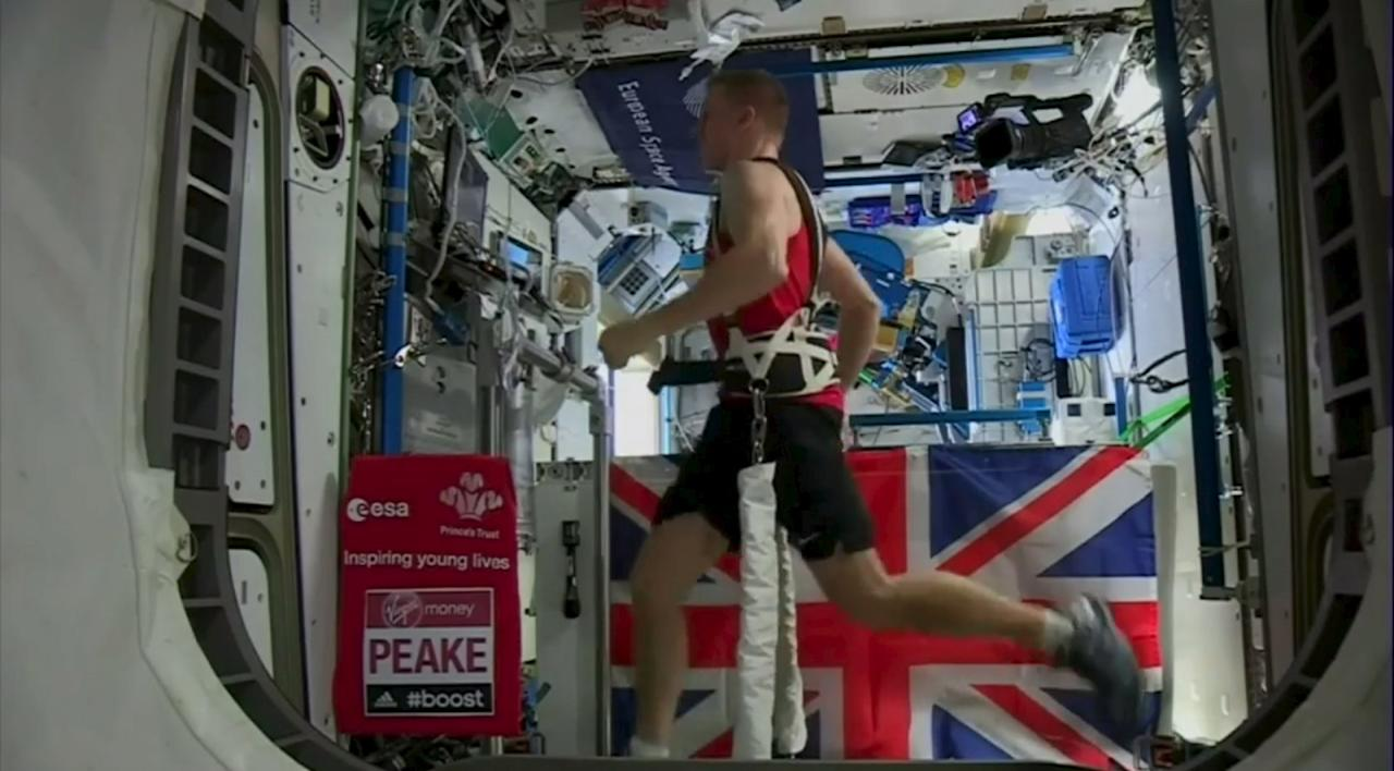 British astronaut Tim Peake runs a marathon while strapped to a treadmill aboard the International Space Station (ISS), in this picture provided by the European Space Agency (ESA) on April 25, 2016. ESA/NASA/Handout via ReutersATTENTION EDITORS - THIS IMAGE WAS PROVIDED BY A THIRD PARTY. EDITORIAL USE ONLY. NO RESALES. NO ARCHIVE. TPX IMAGES OF THE DAY