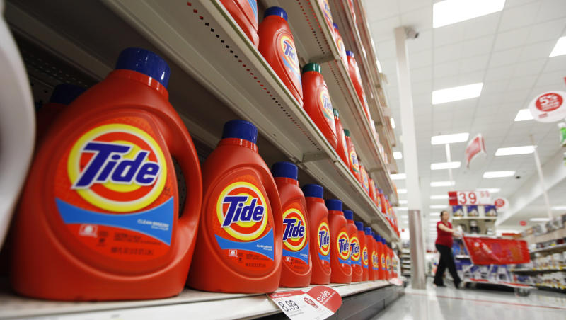 In this April 27, 2011 photo, Procter & Gamble's Tide detergent are displayed at a Target store  in Richmond, Va.  Procter & Gamble Co. reported  Friday Aug. 5, 2011  fourth quarter revenue and net income jumped double digits on strong sales in emerging markets such as China and India, (AP Photo/Steve Helber)