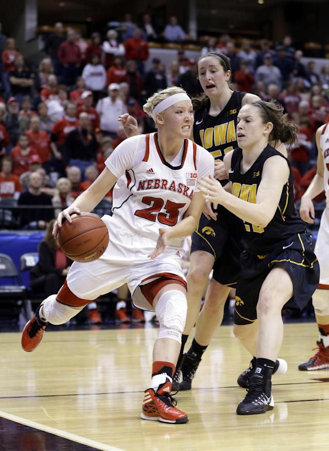 Nebraska forward Emily Cady, left, drives against Iowa guard Samantha Logic in the second half of an NCAA college basketball game in the finals of the Big Ten women's tournament in Indianapolis, Sunday, March 9, 2014. Nebraska defeated Iowa 72-65. (AP Photo/Michael Conroy)