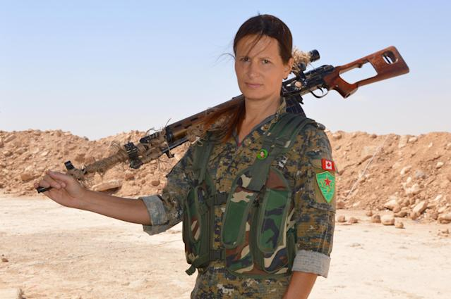 Hanna Bohman in Syria. (Photo: Courtesy <em>Fear Us Women</em>)