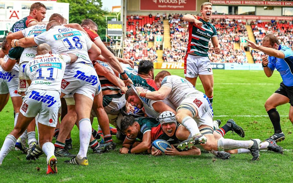 Leicester Tigers' Nic Dolly scores a try during their Gallagher Premiership match against Exeter Chiefs, at Mattioli Woods Welford Road Stadium, Leicester. Picture date: Saturday September 18, 2021. - PA