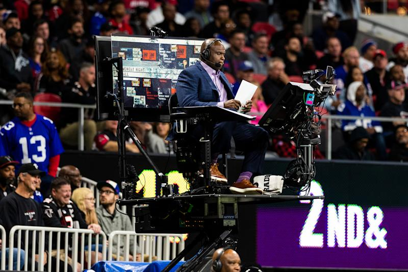 ATLANTA, GA - OCTOBER 22: ESPN Field Analyst Booger McFarland during an NFL regular season game against the New York Giants and the Atlanta Falcons at Mercedes-Benz Stadium on October 22, 2018, in Atlanta, GA. (Photo by Ric Tapia/Icon Sportswire via Getty Images)