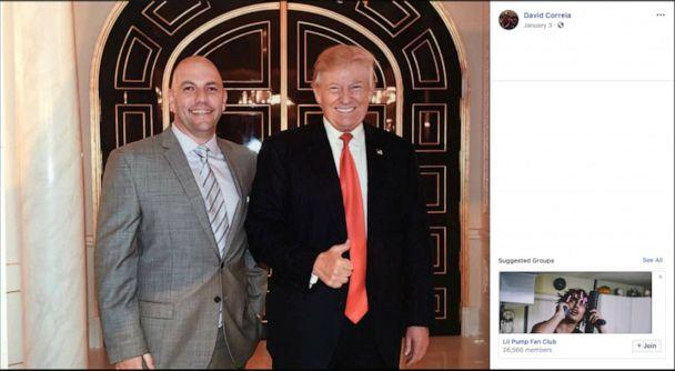 PHOTO: Businessman David Correia appears to pose with President Donald Trump in an undated screen capture from Correia's social media account. (Social Media via Reuters)